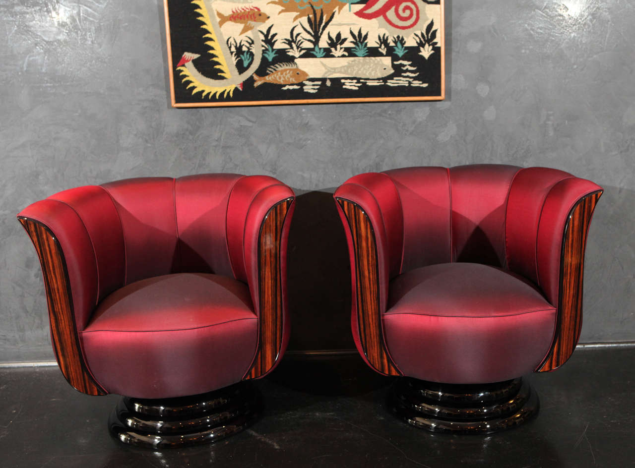 Pair Of Red Silk Tulip Chairs For Sale At 1stdibs