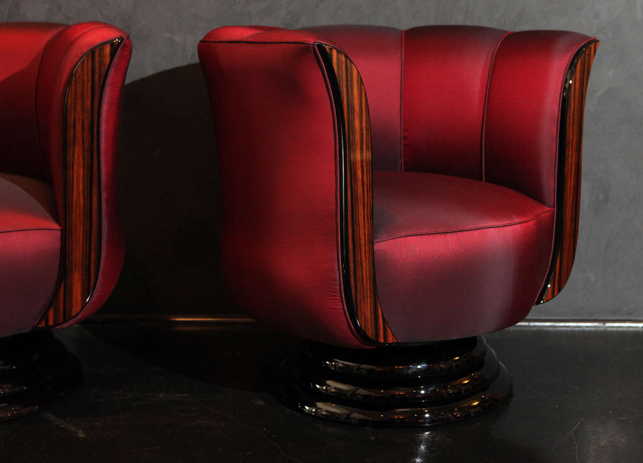 Pair of red silk tulip chairs for sale at 1stdibs - Tulip chairs for sale ...