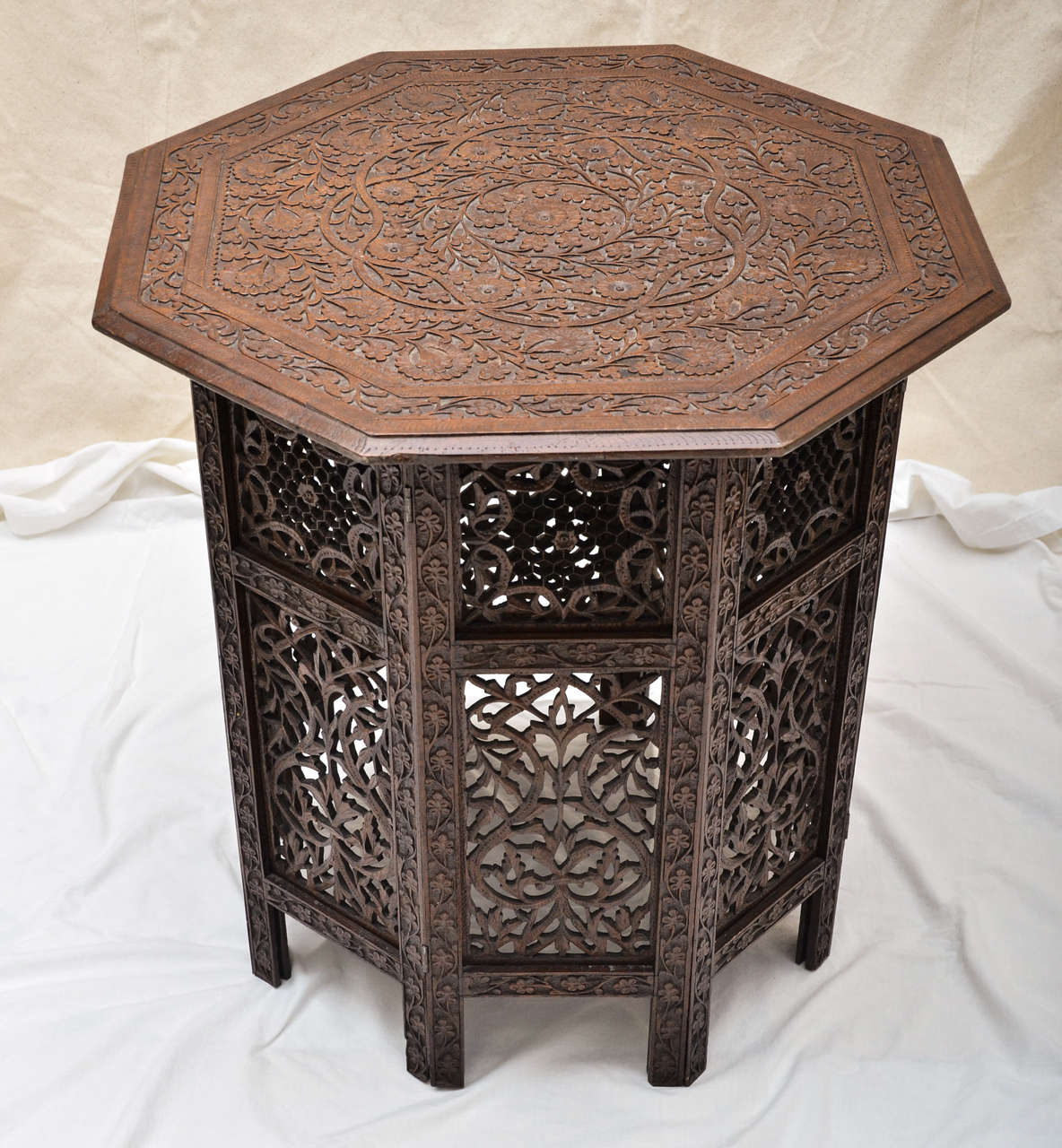 Teak Coffee Table India: Indian Mogul Influenced Carved Teak Occasional Table At