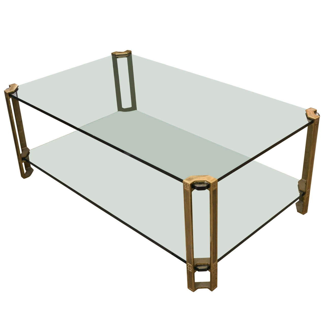 Bronze And Glass 2 Tier Coffee Table At 1stdibs