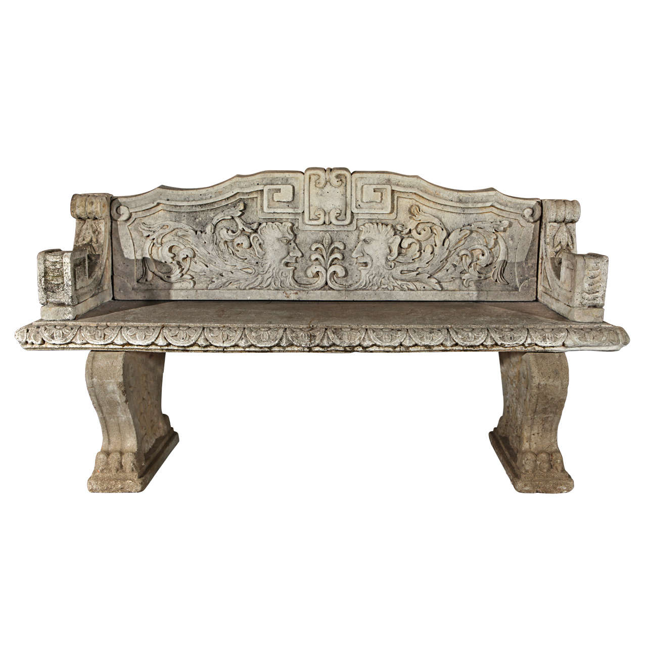 Carved Stone Bench : Carved stone bench at stdibs