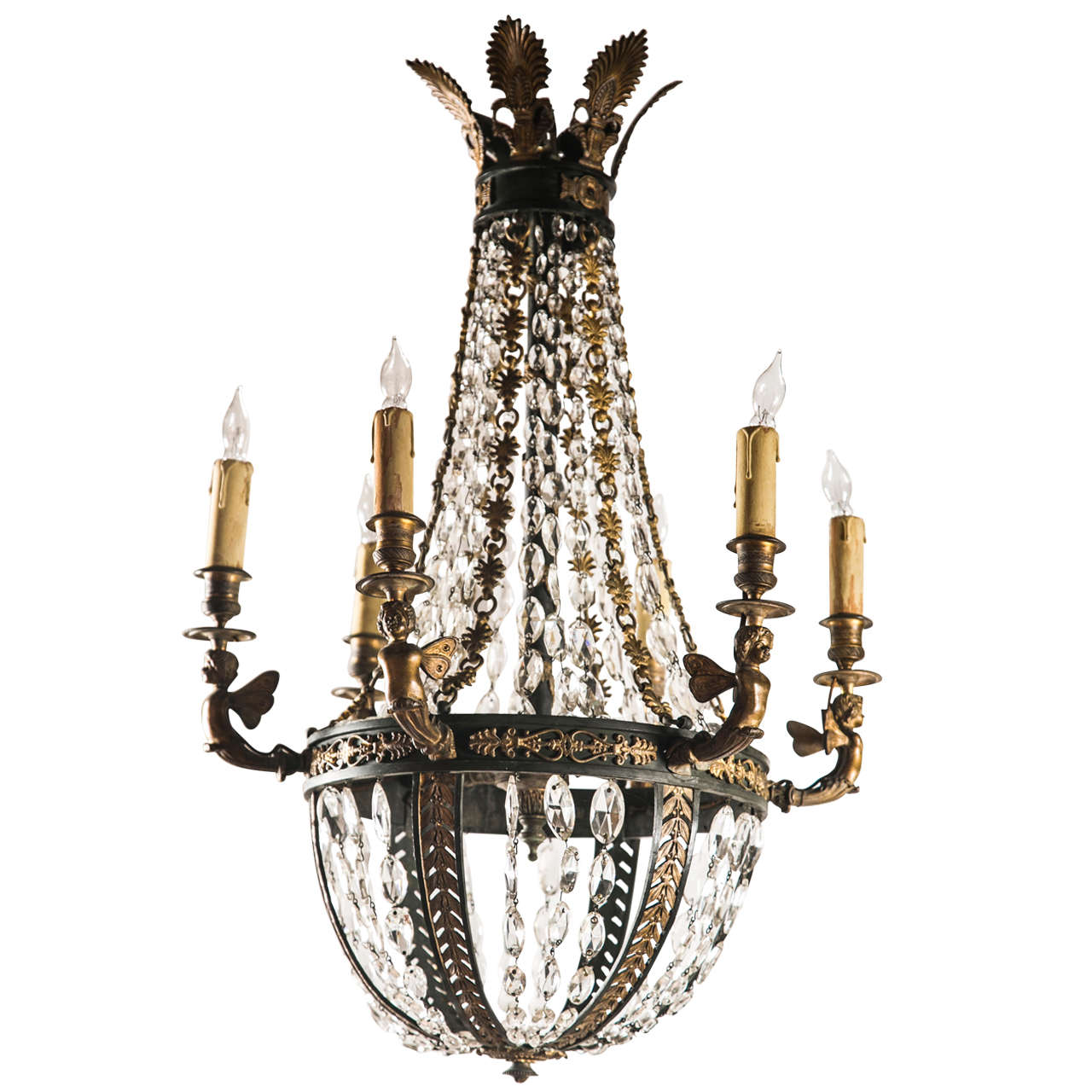 Crystal And Bronze 6 Light Chandelier For Sale At 1stdibs