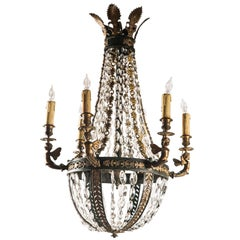 Crystal and Bronze 6 Light Chandelier