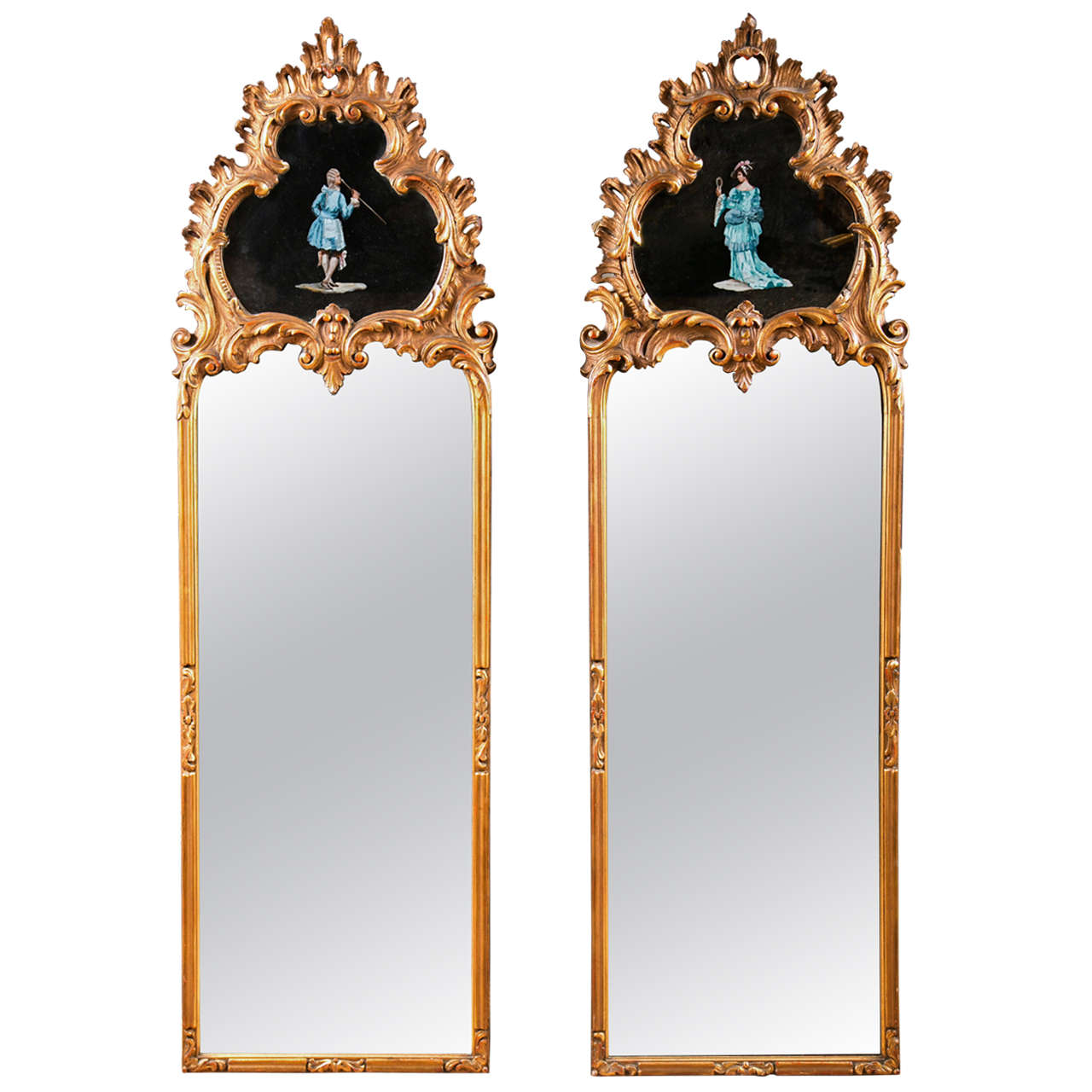 Pair Decorative Gilt Wood Mirrors
