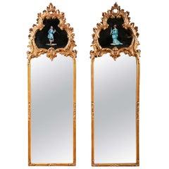 Pair Decorative Gilt Wood Mirrors