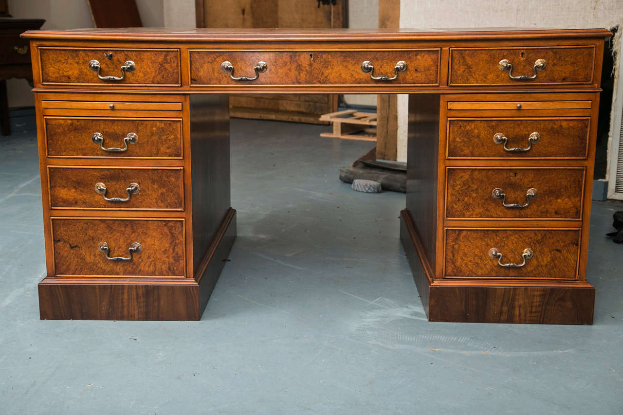 Custom Walnut Pedestal Desk For Sale 1