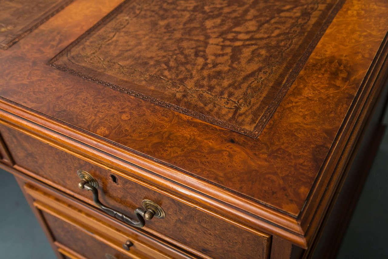 Georgian Custom Walnut Pedestal Desk For Sale