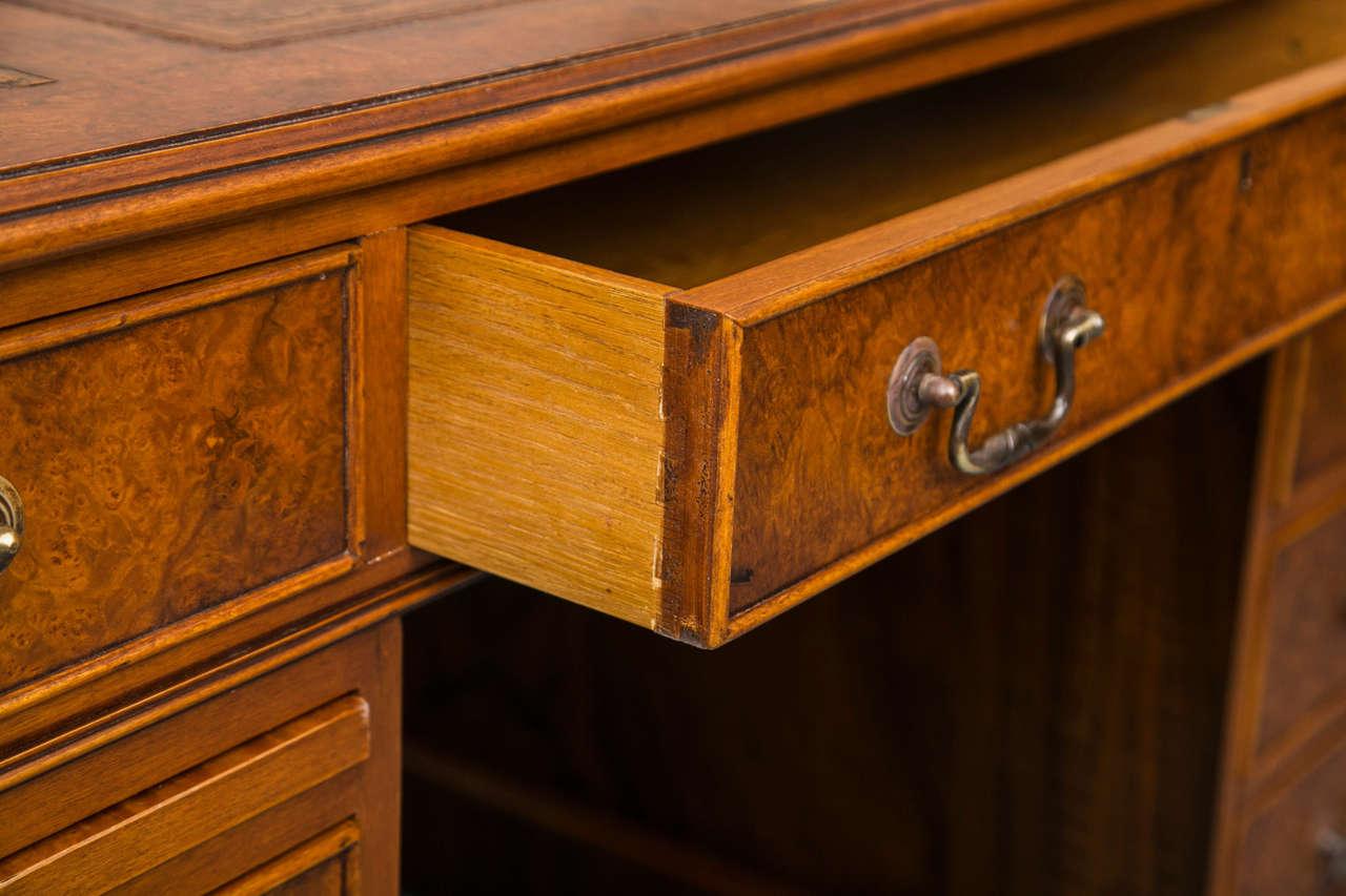British Custom Walnut Pedestal Desk For Sale