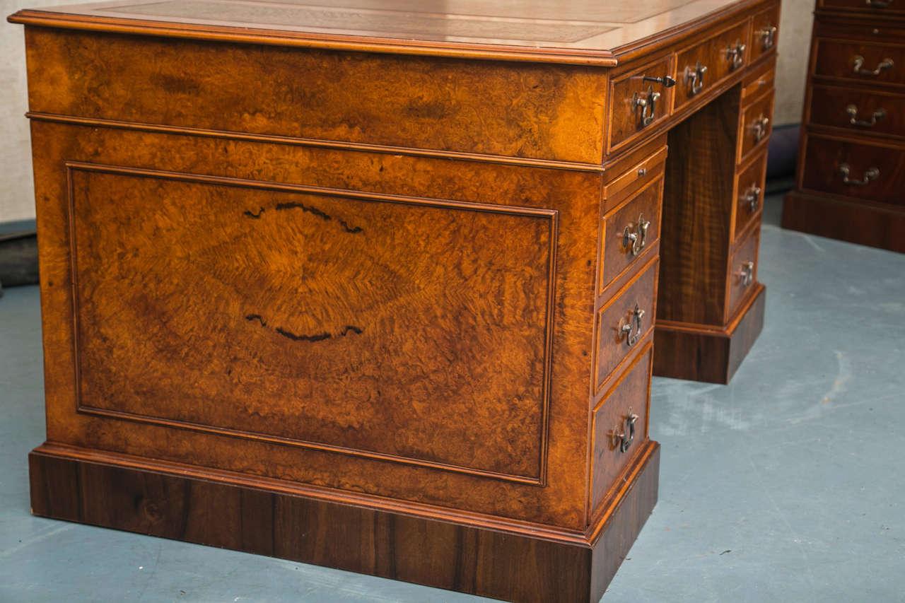Contemporary Custom Walnut Pedestal Desk For Sale
