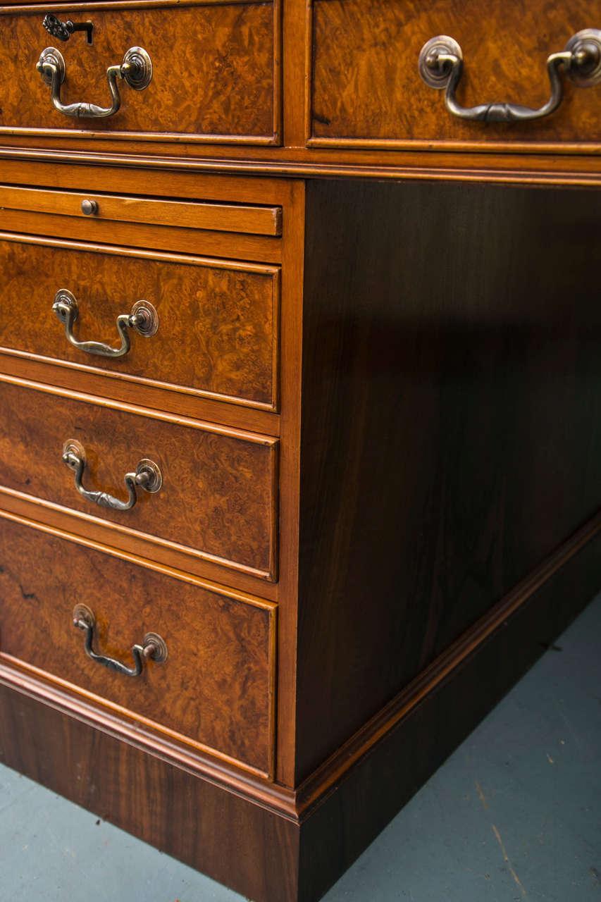 Leather Custom Walnut Pedestal Desk For Sale