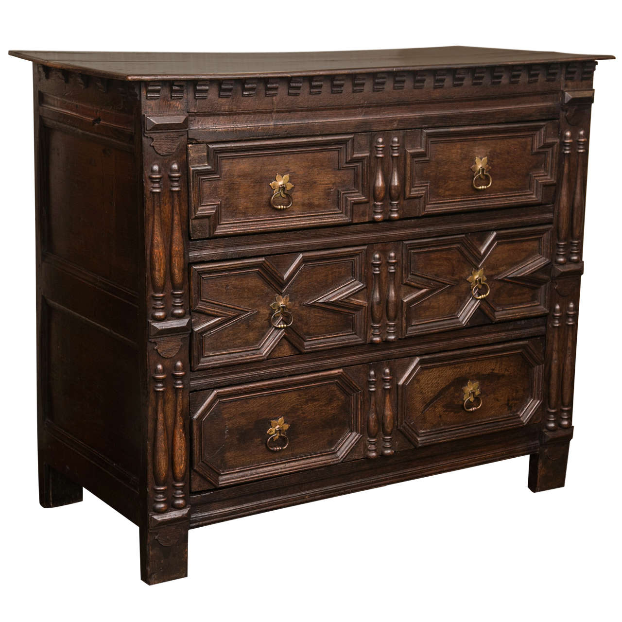 English Oak Jacobean Chest Of Drawers For Sale