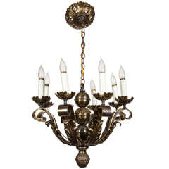 Cast Bronze Eight Light Wrought Chandelier