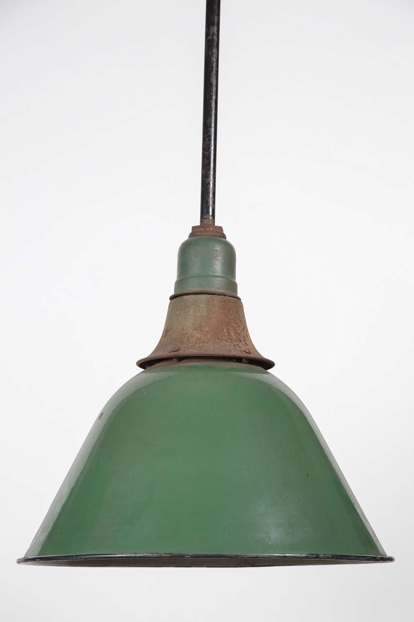 Green Enamel Bell Shaped Warehouse Light For Sale 3