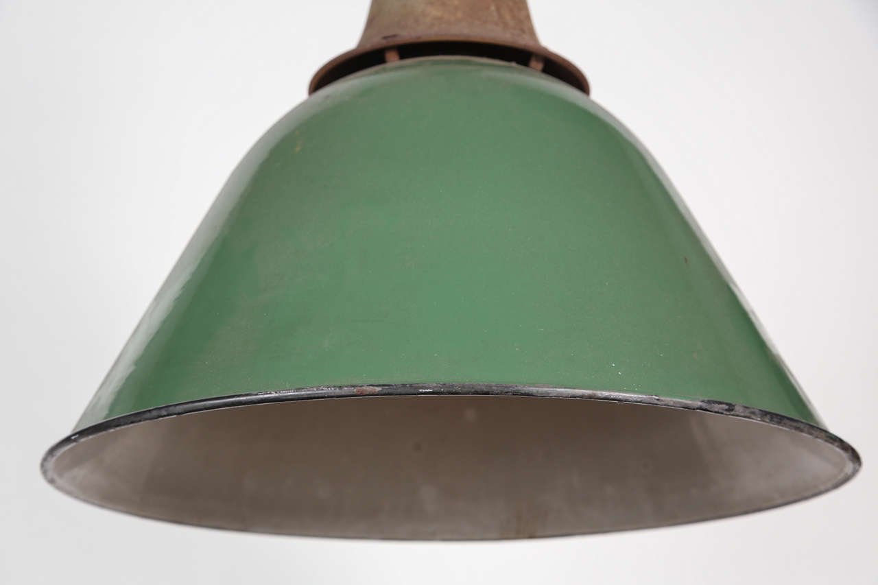 Late 20th Century Green Enamel Bell Shaped Warehouse Light For Sale