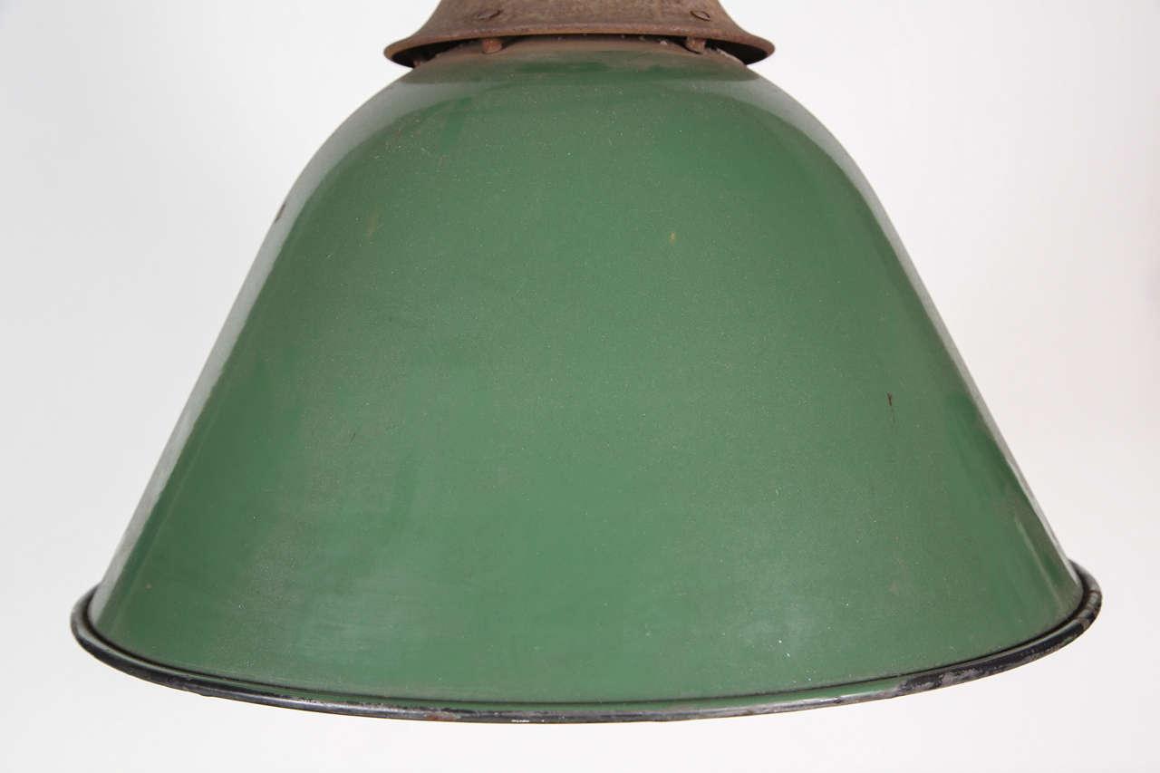 Green Enamel Bell Shaped Warehouse Light For Sale 1