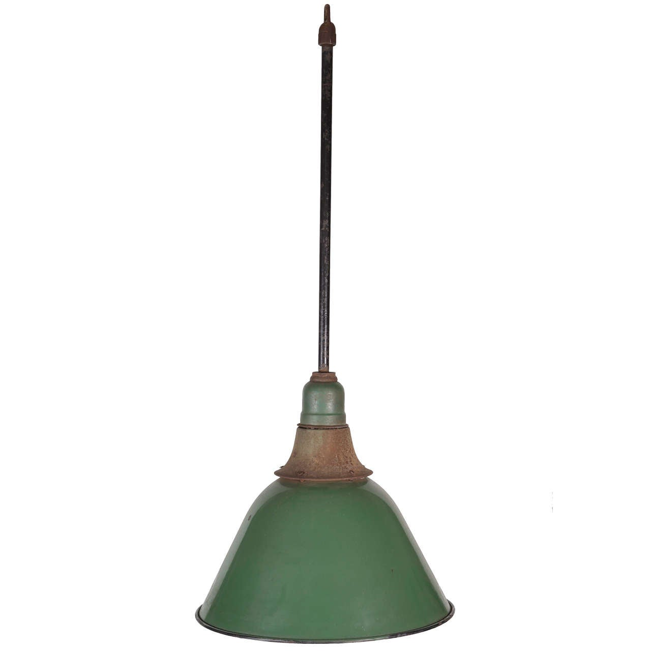 Green Enamel Bell Shaped Warehouse Light For Sale