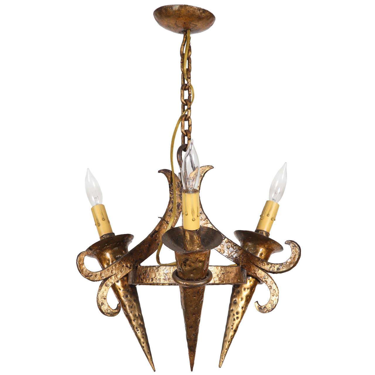 Small Wrought Iron Three Candle Pendant Light From France