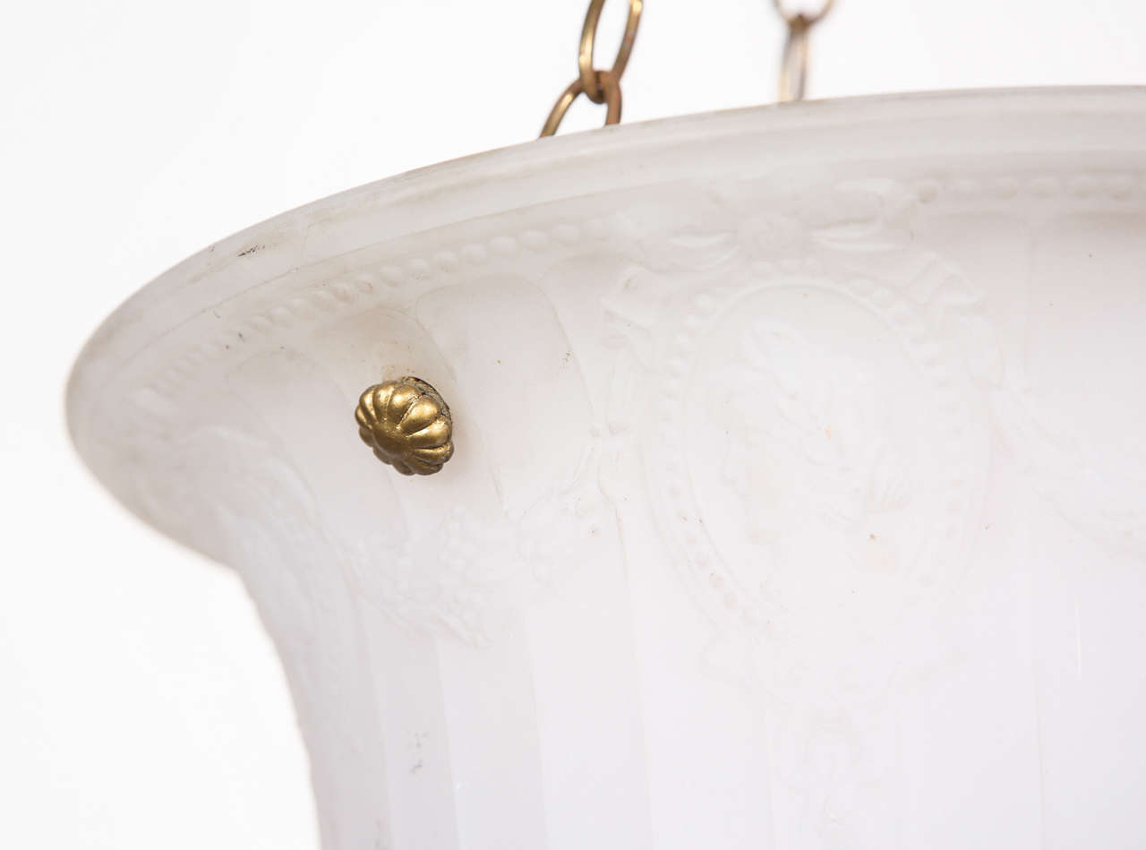 Cast Glass Turn of the Century Dish Light In Good Condition For Sale In Los Angeles, CA