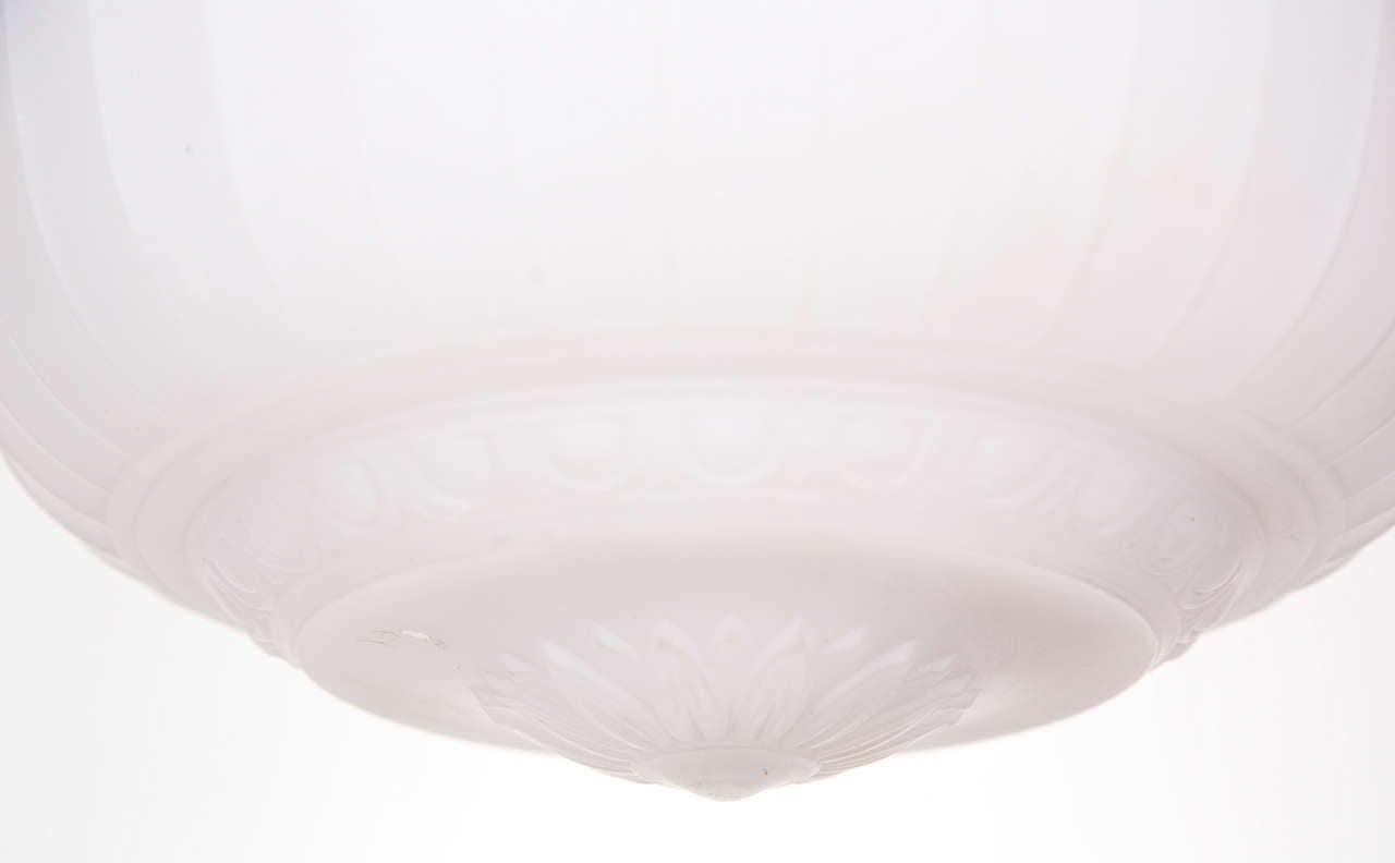 20th Century Cast Glass Turn of the Century Dish Light For Sale