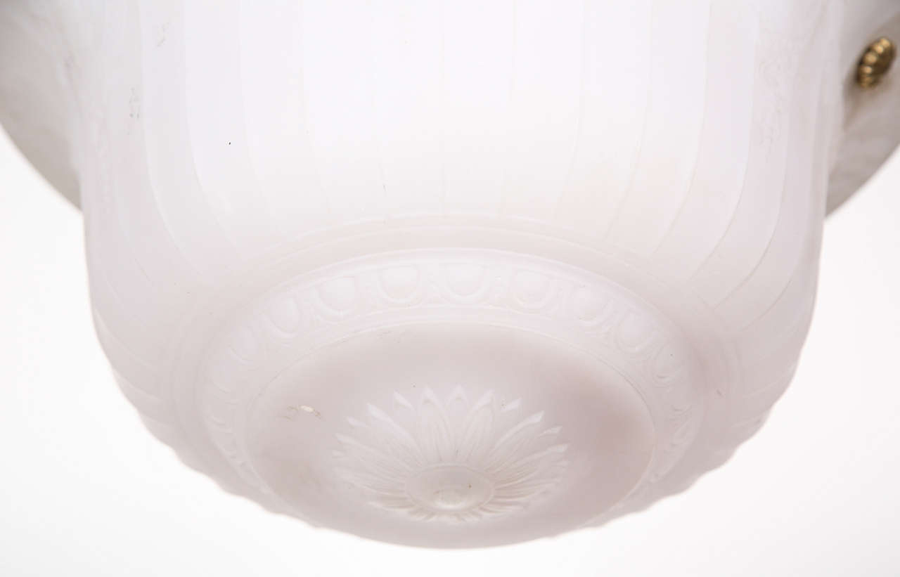 Cast Glass Turn of the Century Dish Light For Sale 1