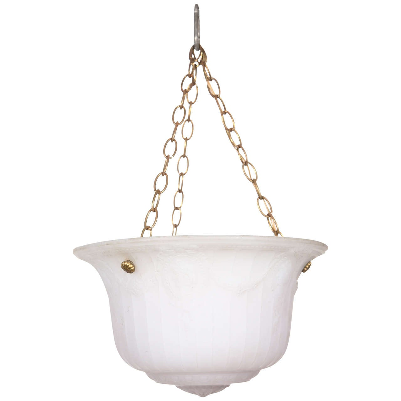 Cast Glass Turn of the Century Dish Light For Sale