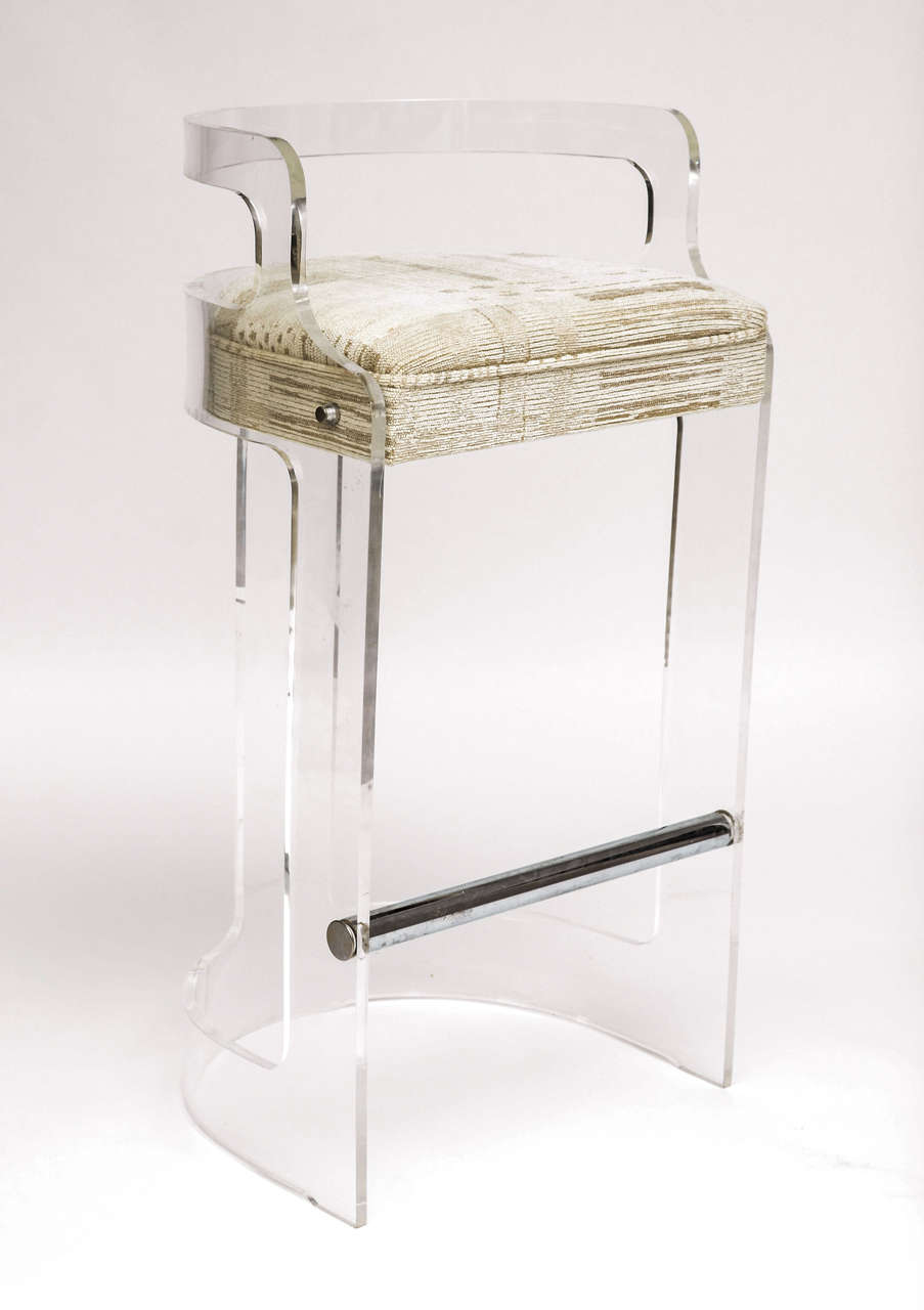 Four Lucite Bar Stools Style Of Charles Hollis Jones At