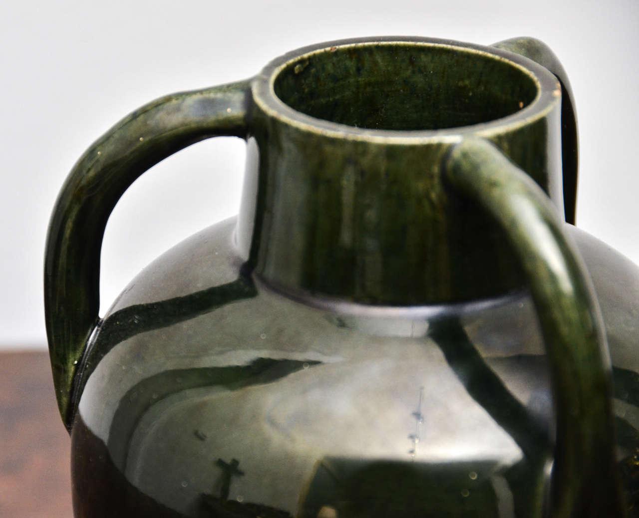 Unknown Dark Green Ceramic Vessel with Three Handles For Sale