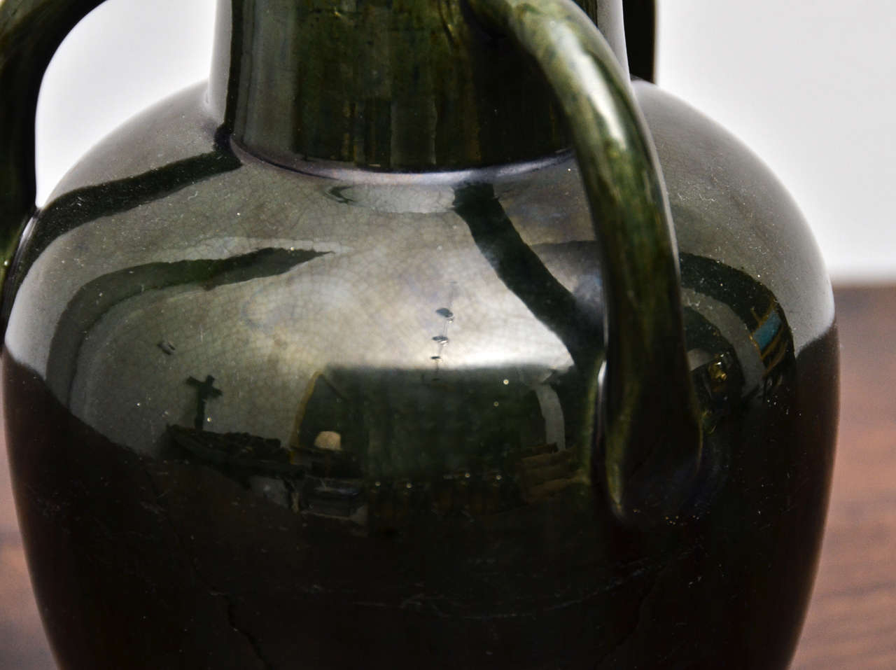Dark Green Ceramic Vessel with Three Handles In Good Condition For Sale In New York City, NY