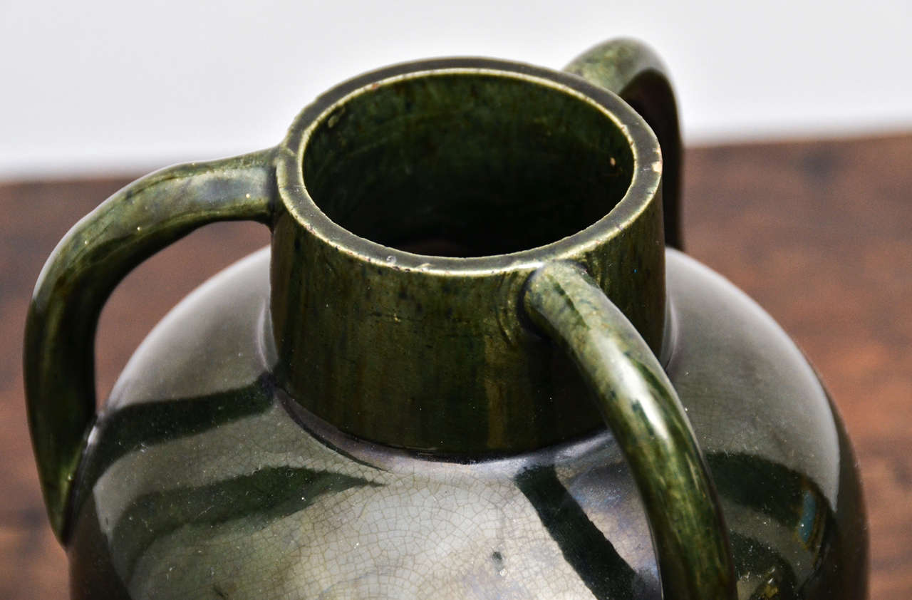 20th Century Dark Green Ceramic Vessel with Three Handles For Sale