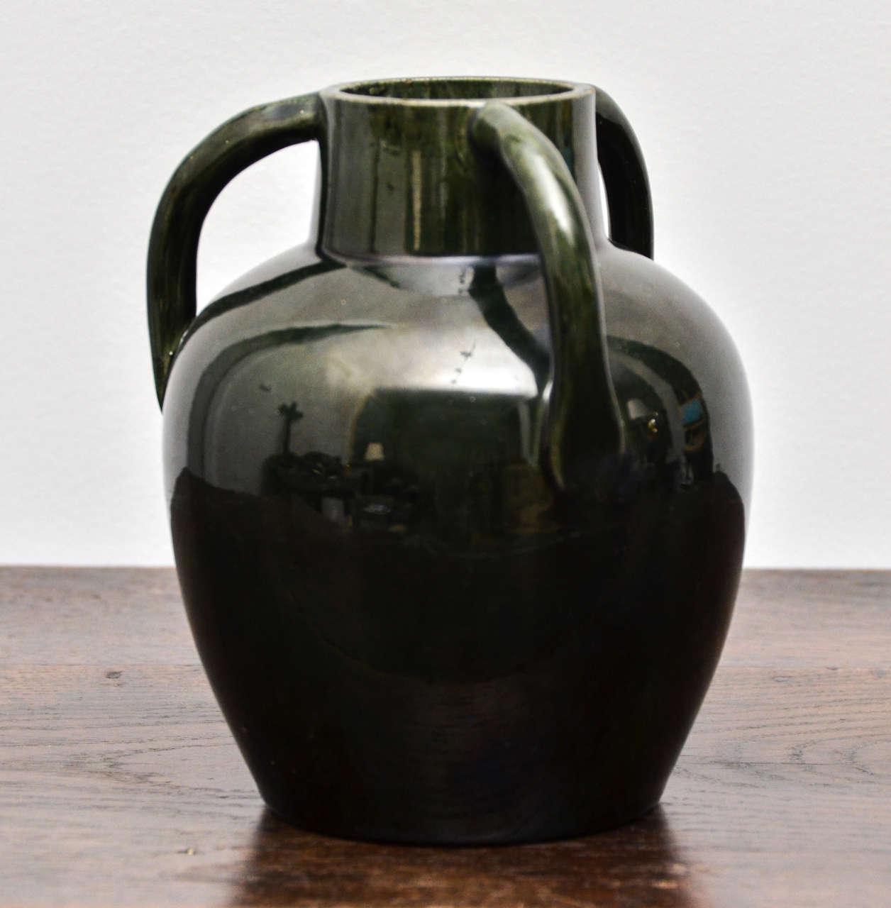 Dark Green Ceramic Vessel with Three Handles For Sale 1