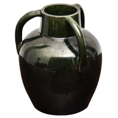 Dark Green Ceramic Vessel with Three Handles