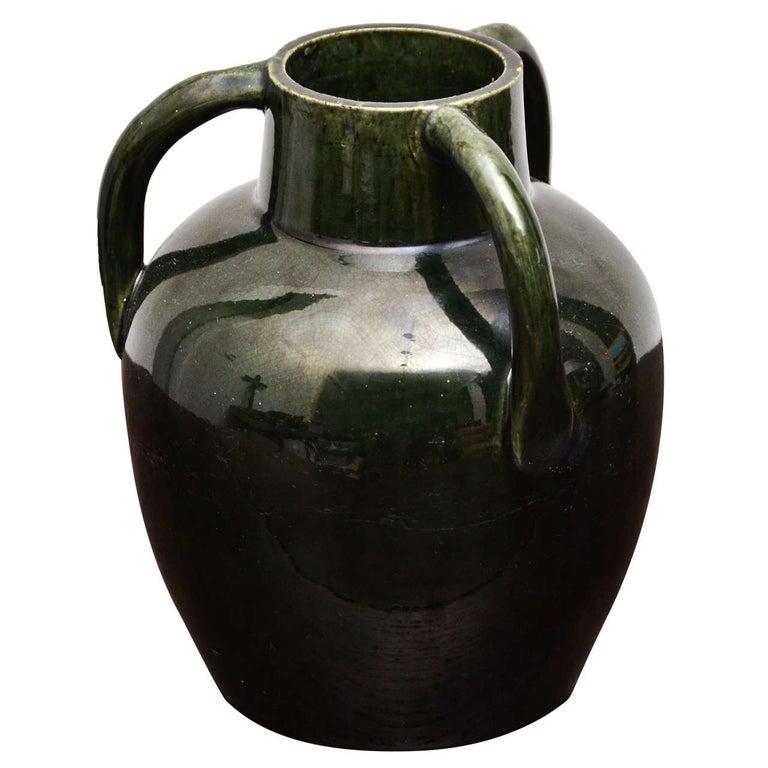 Dark Green Ceramic Vessel with Three Handles For Sale