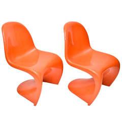 Set of Four 1970s Orange Verner Panton Stacking Chairs