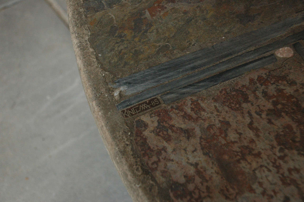 Metal Paul Kingma slate stone coffee table For Sale