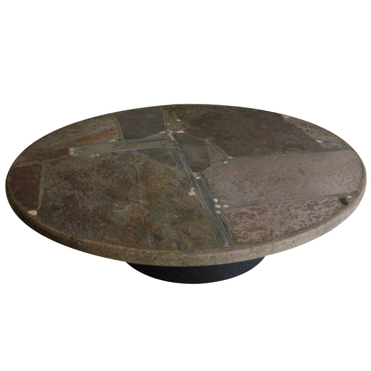 Paul Kingma slate stone coffee table For Sale