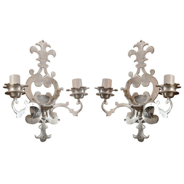 Pair of Nickelplated Brass Fleur-De-Lis Wall Sconces