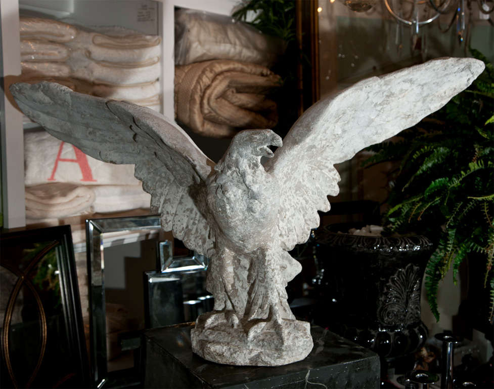 English Graceful Composed Stone Eagle Garden Statue For Sale