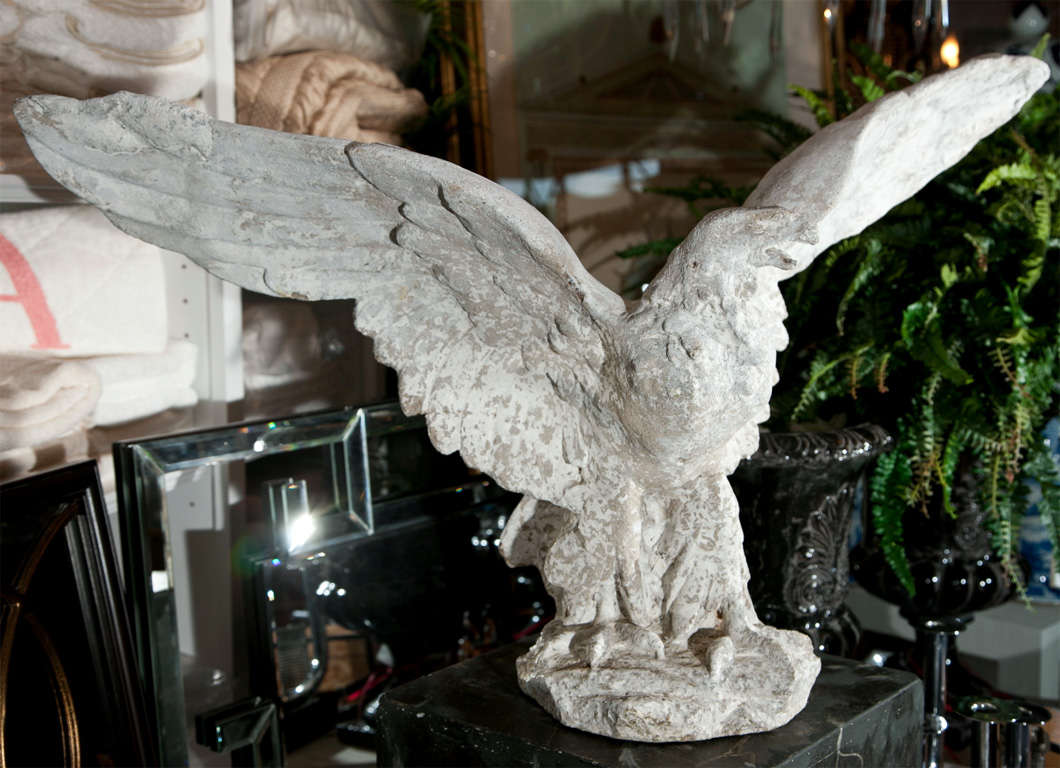 Graceful Composed Stone Eagle Garden Statue For Sale 1