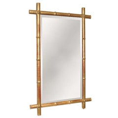Large Gilt Napoleon III Bamboo Motif Mirror with Original Glass