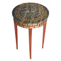 Greek Key Carved Accent Table