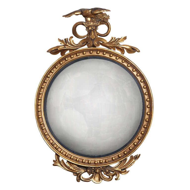 federal period giltwood convex mirror at 1stdibs