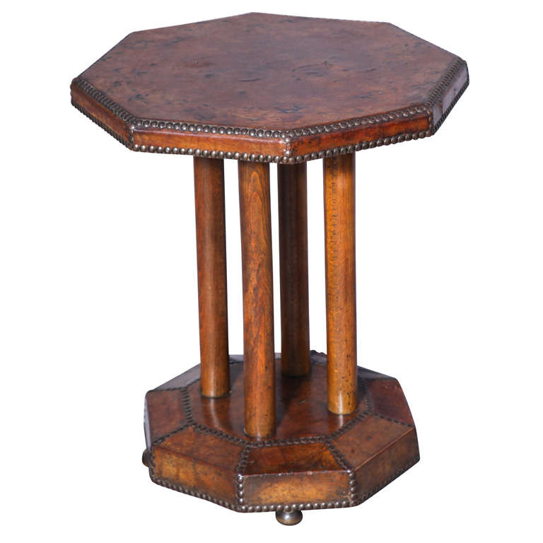 Octagon Side Table ~ Antique octagonal leather covered accent table at stdibs