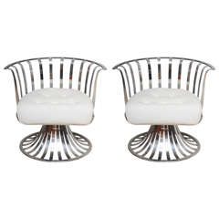 Pair of Russell Woodard Polished  Aluminum Lounge Chairs