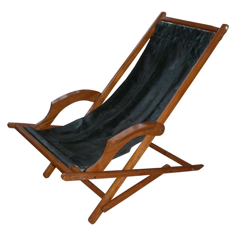 Handsome 1930s folding chaise longue at 1stdibs for 1930s chaise lounge