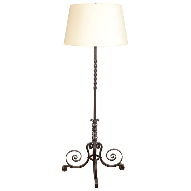Curled And Twisted Iron Floor Lamp At 1stdibs