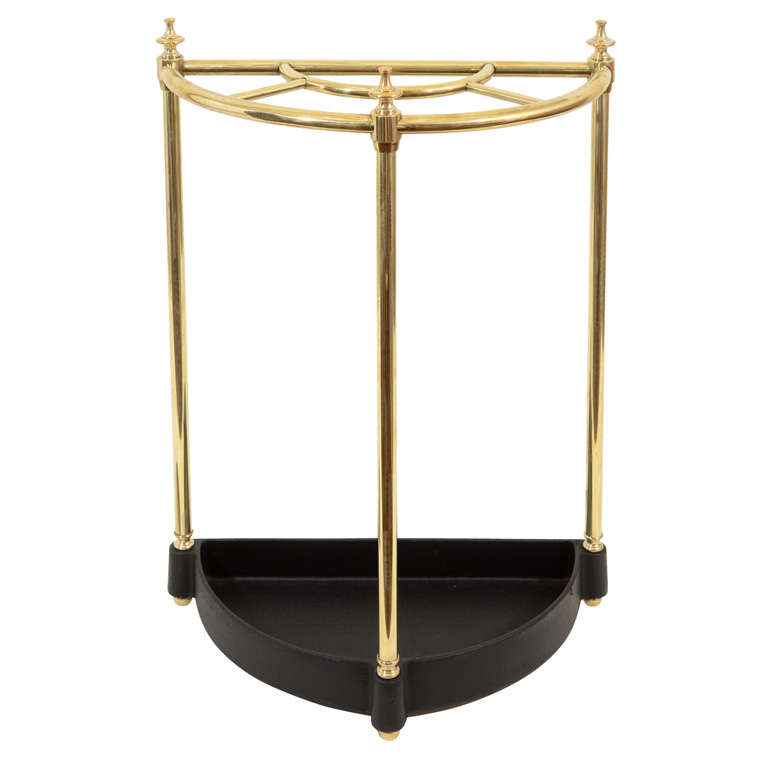 vintage brass demi lune umbrella stand england early. Black Bedroom Furniture Sets. Home Design Ideas