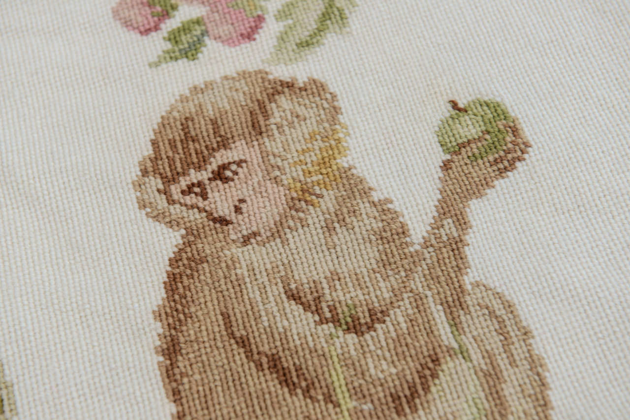Hand Made Wool Needlepoint Rug With Monkeys At 1stdibs