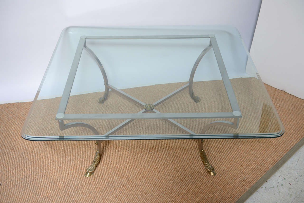 Square Beveled Glass Top With Steel And Brass Base Coffee Table At 1stdibs