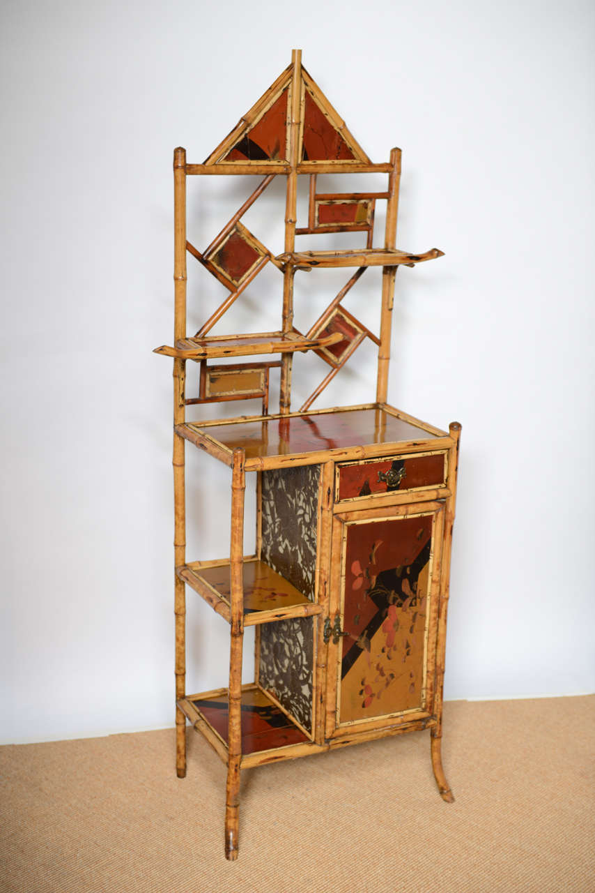 British Antique Bamboo Pagoda Etagere For Sale