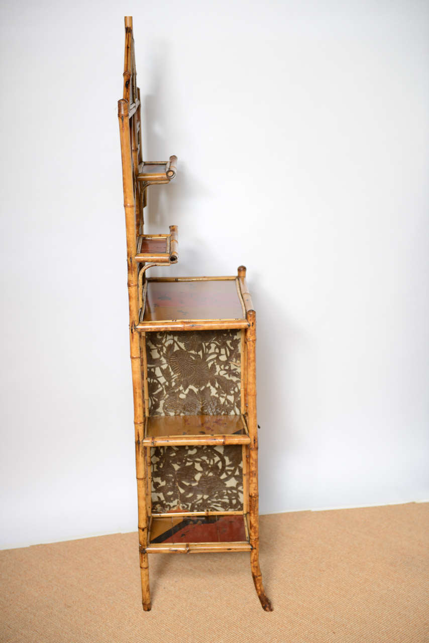 Antique Bamboo Pagoda Etagere For Sale 1